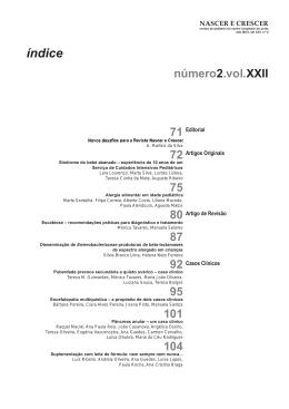 2 Vol. XXII 2013 - Revista Nascer e Crescer