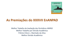 As Premiações do XXXVII EnANPAD