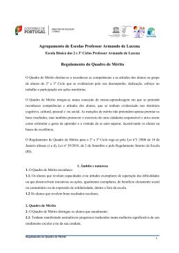 Regulamento do Quadro de Mérito - Agrupamento de Escolas Prof