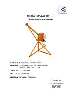 Mini Grua - RG - Metalúrgica Rodolfo Glaus