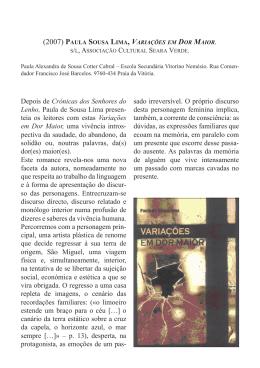 Paula Sousa Lima, Variações em dor maior. S/l, Associação Cultural