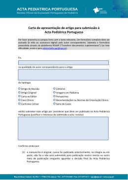 Carta de apresentação de artigo para submissão