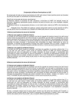 Composição de Bancas Examinadoras na CAP Na composição de