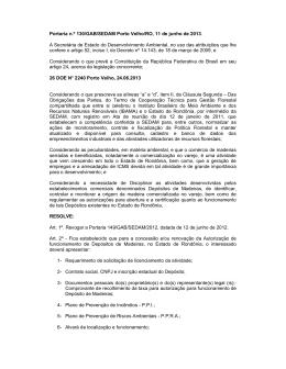 Portaria n.º 130/GAB/SEDAM Porto Velho/RO, 11 de junho de 2013