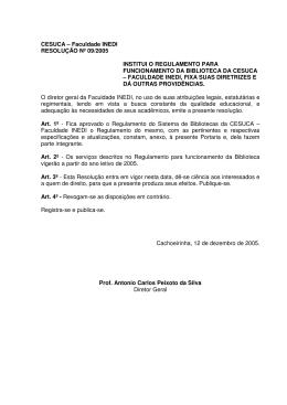 CESUCA – Faculdade INEDI RESOLUÇÃO Nº 09/2005 INSTITUI O