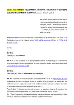 Decreto 8077 14/08/2013 - REGULAMENTA CONDIÇÕES
