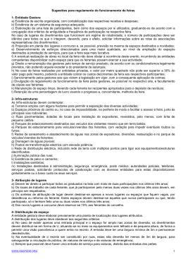 Sugestões para regulamento do funcionamento de feiras