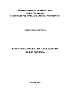 estudo de corrosão em tubulações de gás de coqueria