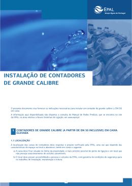 INSTALAÇÃO DE CONTADORES DE GRANDE CALIBRE