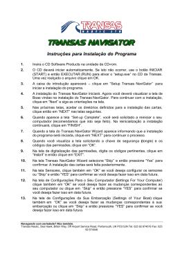 Instruções para Instalação do Programa