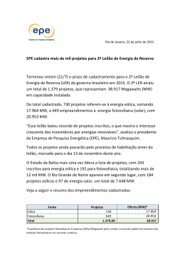 Resumo dos projetos cadastrados para o 2º LER 2015