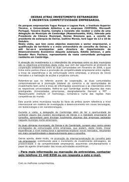 OEIRAS ATRAI INVESTIMENTO ESTRANGEIRO E INCENTIVA