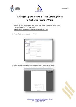 Instruções para inserir a Ficha Catalográfica no trabalho
