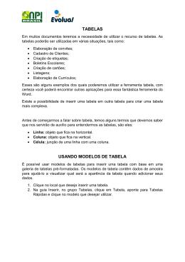TABELAS USANDO MODELOS DE TABELA