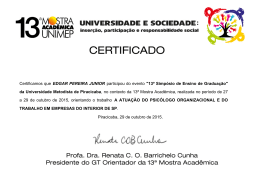 Certificamos que EDGAR PEREIRA JUNIOR participou do evento