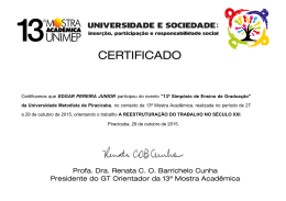 Certificamos que EDGAR PEREIRA JUNIOR participou do
