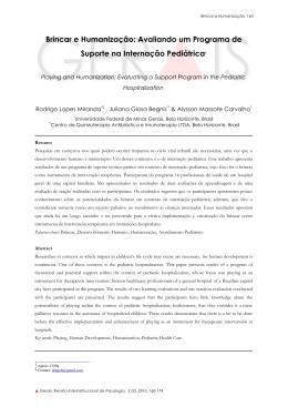 Brincar e Humanização - Fafich - Universidade Federal de Minas