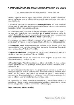 A IMPORTÂNCIA DE MEDITAR NA PALVRA DE DEUS