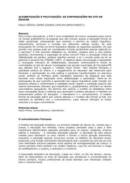 ALFABETIZAÇÃO E POLITIZAÇÃO - Associação de Leitura do Brasil