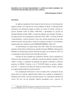 reforma do estado brasileiro e agências reguladoras no contexto de