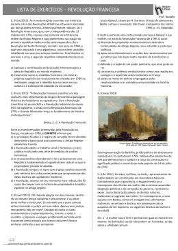 LISTA DE EXERCÍCIOS – REVOLUÇÃO FRANCESA