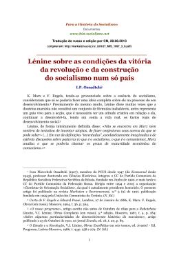 Lénine sobre as condições da vitória da revolução e da construção