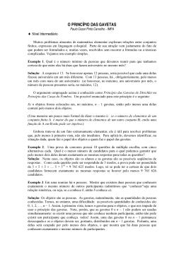 1. Método das casas dos pombos (gavetas, método de Dirichlet)