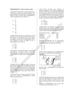 PROBABILIDADE – Professor Clístenes Cunha 1-(Mack SP