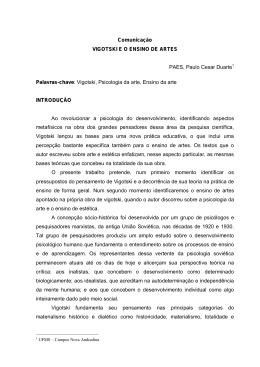 Comunicação VIGOTSKI E O ENSINO DE ARTES PAES, Paulo