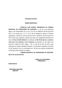 PORTARIA 072-2015 Diária Paulo Cesar Giroldi