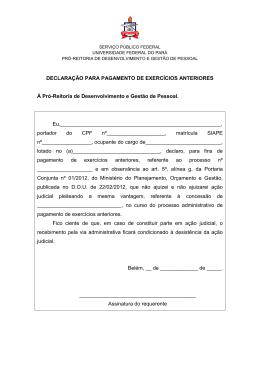 Declaração Para Pagamento de Exercícios Anteriores