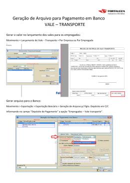Geração de Arquivo para Pagamento em Banco VALE