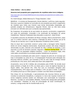 Valor Online – 19/11/2012 Governo terá proposta para pagamento