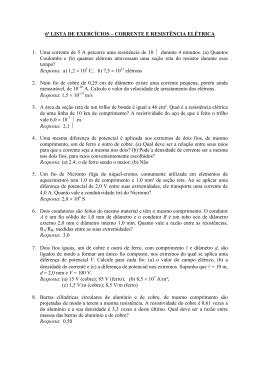Exercícios Cap. VI - Corrente e Resistência Elétrica