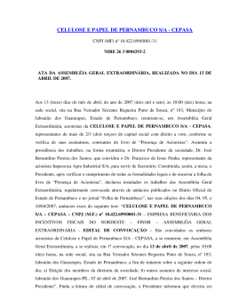 CELULOSE E PAPEL DE PERNAMBUCO S/A