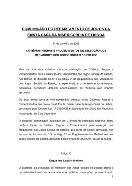 COMUNICADO DO DEPARTAMENTO DE JOGOS DA SANTA CASA