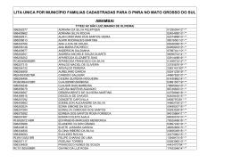 Lista Única de famílias cadastradas no PNRA Mato Grosso