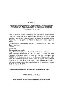 Aviso Técnicos Superiores 5 - Câmara Municipal de Peso da Régua