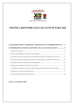 POLÍTICA REIVINDICATIVA DA CGTP
