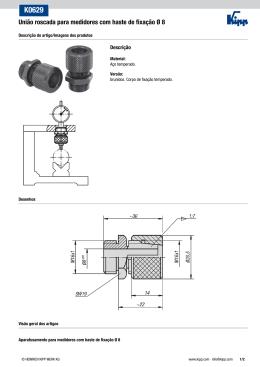 União roscada para medidores com haste de fixação Ø 8