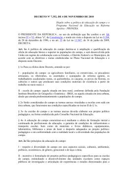 DECRETO Nº 7.352, DE 4 DE NOVEMBRO DE 2010 Dispõe sobre