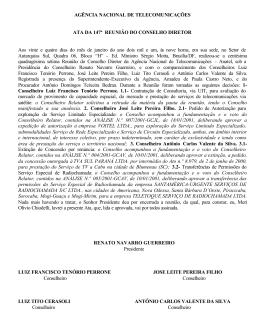 AGÊNCIA NACIONAL DE TELECOMUNICAÇÕES ATA DA