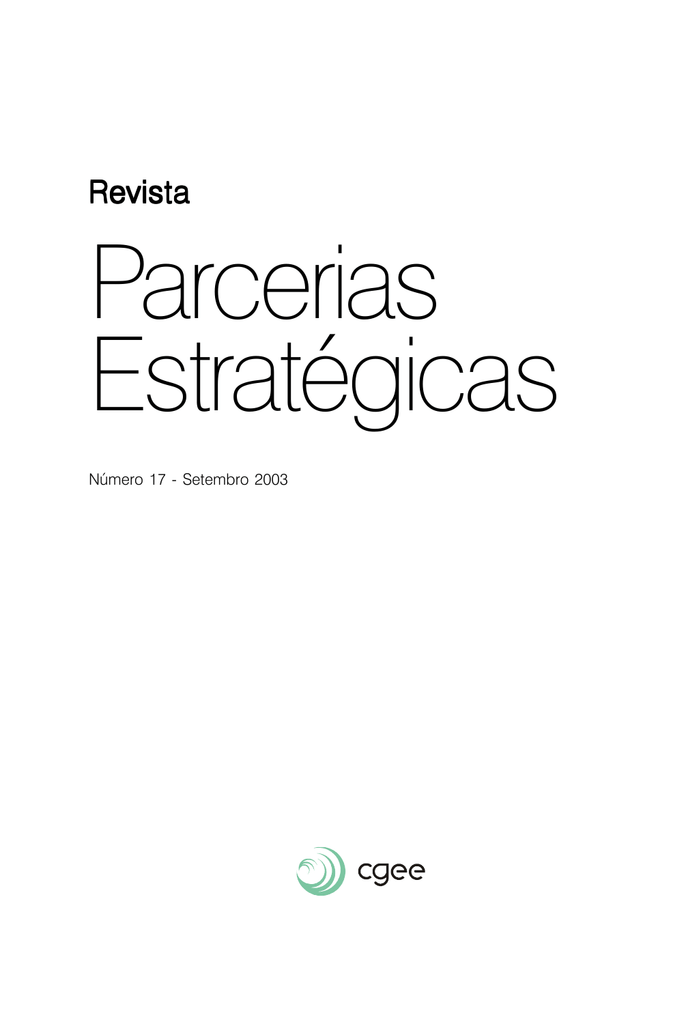 caf4e3b970 Revista Parcerias Estratégicas Versão integral em PDF