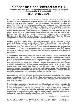 DIOCESE DE PICOS, ESTADO DO PIAUÍ