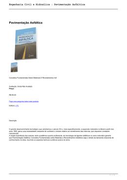 Engenharia Civil e Hidraúlica : Pavimentação Asfáltica