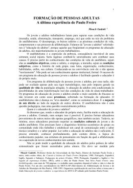 Formação de pessoas adultas: a última experiência de Paulo Freire.