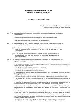 Resolução 04/89 - Universidade Federal da Bahia