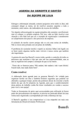 AGENDA DA GERENTE E GESTÃO DA EQUIPE DE LOJA