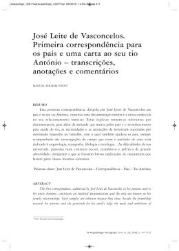 José Leite de Vasconcelos. Primeira correspondência para os pais