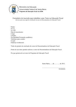 Formulário de inscrição para trabalhar como Tutor na Educação Fiscal